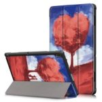 Pattern Printing Tri-fold Stand PU Leather Tablet Case for Lenovo Tab E10 TB-X104F – Heart Shaped Tree