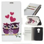 Pattern Printing Wallet Leather Case for Motorola Moto G7 Play – Sweet Owl Family