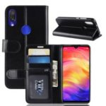 Crazy Horse PU Leather Stand Wallet Flip Case for Xiaomi Redmi Note 7 – Black