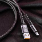 USAMS US-SJ289 U24 5A Round Shaped Nylon Braided Type-C Data Sync Charging Cable – Black