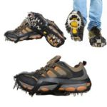 1 Pair Outdoor Ice Crampons 18 Teeth Steel Non-slip Shoe Cover Rock Climbing – Black / Size: L