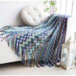 Bohemia Style Warm Thick Chair Slipcover Cotton Sofa Thread Blanket – Blue