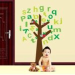 English Letter Tree Removable Wall Sticker Art Decals Mural DIY Wallpaper