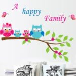 Cartoon Cute Happy Owl Family DIY Wall Wallpaper Stickers Art Decor Kid's Child Room Decal