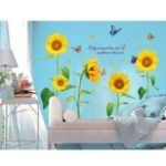 Sunshine Sunflower Butterfly Dancing in Summer Removable Wall Stickers Decor