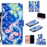 Pattern Printing Light Spot Decor Leather Wallet Case for iPhone XS/X 5.8-inch – Vivid Butterfly