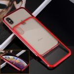 Slide-on Metal Frame + 9H Glass Back Hybrid Case for iPhone XS / X 5.8 inch – Red