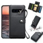 Multifunctional PU Leather Coated TPU Card Holder Phone Case for Samsung Galaxy S10 Lite – Black