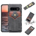 SHOUHUSHEN Maple Buckle Card Holder Leather Coated PC Hard Case for Samsung Galaxy S10 Lite – Dark Grey