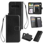 9-slot PU Leather Wallet Stand Mobile Shell Cover for Samsung Galaxy S10 – Black