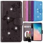 Imprinted Butterfly Flower Pattern Rhinestone Leather Wallet Case for Samsung Galaxy S10 Plus – Black