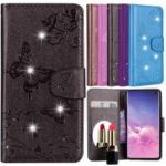 Imprinted Butterfly Flower Pattern Rhinestone Leather Wallet Case for Samsung Galaxy S10 – Black