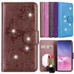 Imprinted Butterfly Flower Pattern Rhinestone Leather Wallet Shell Cover for Samsung Galaxy S10e – Brown