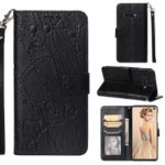 Imprinted Elephant Pattern Leather Wallet Case for Samsung Galaxy S10e – Black