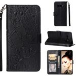 Imprinted Elephant Pattern Leather Wallet Case for Samsung Galaxy S10 Plus – Black