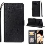 Imprinted Elephant Pattern Leather Wallet Case for Samsung Galaxy S10 – Black