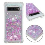 Glitter Powder Quicksand Shockproof TPU Back Case for Samsung Galaxy S10 – Light Purple