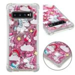 Dynamic Glitter Powder Heart Shaped Sequins TPU Case for Samsung Galaxy S10 – Unicorn and Stars