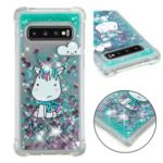 Dynamic Glitter Powder Heart Shaped Sequins TPU Case for Samsung Galaxy S10 – Unicorn Pattern