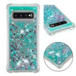 Dynamic Glitter Powder Heart Shaped Sequins TPU Shockproof Case for Samsung Galaxy S10 – Green