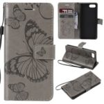 Imprinted Butterfly [Wallet Stand] Leather Shell for Sony Xperia XZ4 Compact – Grey
