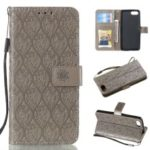 Imprint Leaf Pattern PU Leather Flip Case [Wallet Stand] for Sony Xperia XZ4 Compact – Grey