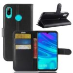 Litchi Skin PU Leather Magnetic Wallet Case for Huawei P30 Lite – Black