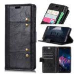 Rivet Decorated Leather Stand Wallet Magnetic Case for Huawei Y7 (2019) – Black