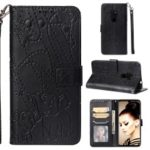 Imprinted Elephant Pattern Leather Wallet Case for Huawei Mate 20 – Black