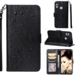 Imprint Leaf Pattern PU Leather Mobile Case [Wallet Stand] for Huawei P Smart (2019)/Honor 10 Lite – Black
