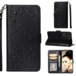 Imprinted Elephant Pattern Leather Wallet Case for Huawei P30 – Black