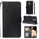 Imprinted Elephant Pattern Leather Wallet Case for Huawei Mate 20 Lite – Black