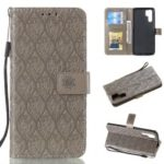 For Huawei P30 Pro Imprint Leaf Pattern PU Leather Cell Phone Case [Wallet Stand] – Grey