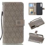 For Huawei P30 Imprint Leaf Pattern PU Leather Protective Shell [Wallet Stand] – Grey