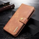 DG.MING Detachable 2-in-1 Split Leather Wallet Shell + PC Back Case for Huawei P30 Lite – Brown