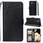 Imprinted Elephant Pattern Leather Wallet Stand Case for Huawei P30 Pro – Black