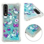 Dynamic Glitter Powder Heart Shaped Sequins TPU Back Case for Huawei P30 – Unicorn and Bowknot