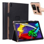 Card Holder Stand PU Leather Tablet Case for Lenovo Tab P10 TB-X705F 10.1″ [with Elastic Hand Strap] – Black