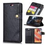 S Shape Crazy Horse PU Leather Stand Case for Xiaomi Redmi Note 7 – Black