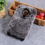 Soft Fur Coated Rhinestone TPU Back Casing for Samsung Galaxy J8 (2018) – Grey