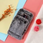 For Samsung Galaxy S9 Plus SM-G965 Soft Faux Fur Coated Rhinestone TPU Case with [Wrist Strap] – Grey