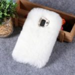 Soft Fur Coated TPU Case with Rhinestone Decoration for Samsung Galaxy J6 (2018) – White