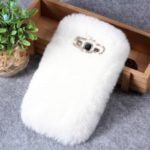 Rhinestone Soft Fur Coated TPU Case for Samsung Galaxy J2 Prime/Grand Prime Plus/Prime (2016) – White