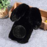 Rabbit Shape Fluffy Fur Coated Rhinestone TPU Cover for Huawei nova 3 – Black
