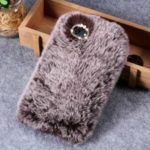 Rhinestone Soft Fur Coated TPU Phone Accessory Case for Vivo Y83 – Brown