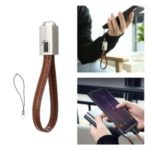 FLOVEME Keychain Leahter Type-C Data & Charge Cable for Xiaomi Samsung, etc – Brown
