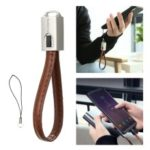 FLOVEME Keychain Leahter Micro USB Data & Charge Cable for Xiaomi Samsung, etc – Brown