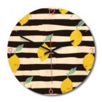 Solid Wood Noiseless Big Wall Clock Round Wall Clock Wall Decor – Lemon