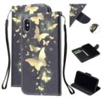Pattern Printing Wallet Stand Leather Mobile Case for iPhone XS Max 6.5 inch with Strap – Gold Butterfly
