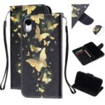 Pattern Printing Wallet Stand Leather Phone Casing for iPhone XR 6.1 inch with Strap – Gold Butterfly